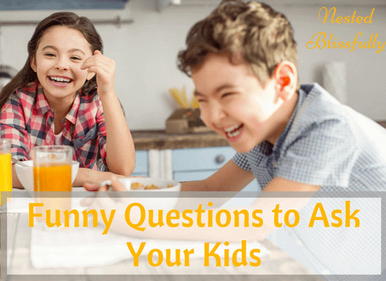 Happy little kids laughing at moms funny questions.